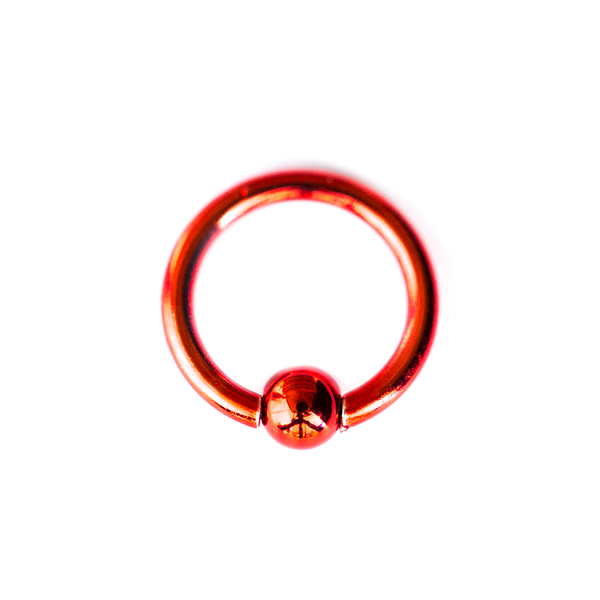 RED STEEL BALL CAPTIVE RING 14 GAUGE