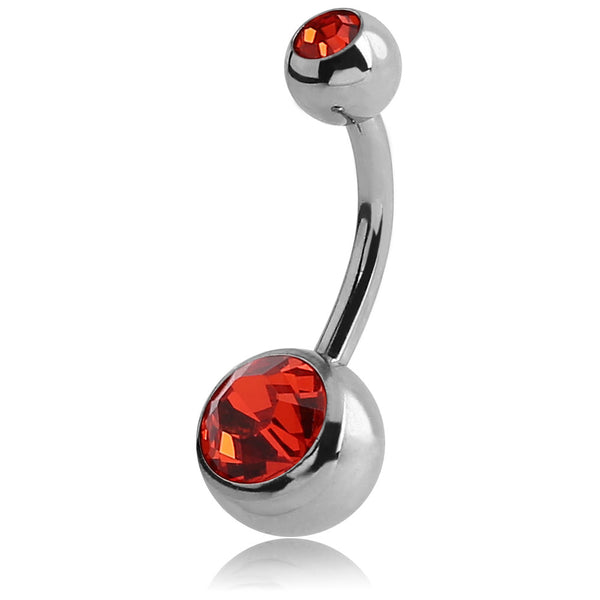 LARGE LIGHT SIAM JEWELLED NAVEL BARBELL