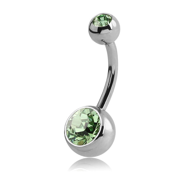 LARGE PERIDOT JEWELLED NAVEL BARBELL