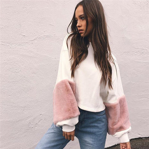 White Sweatshirt With Fur Sleeves