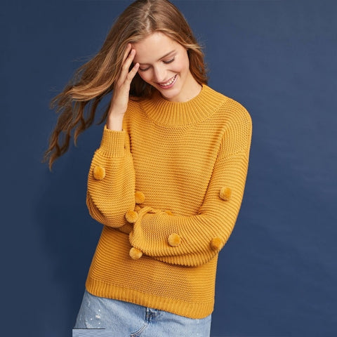 Pommed Orange Casual Sweater