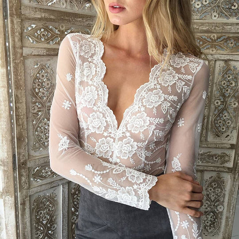 White Lace Embroidered Elegant Transparent Blouse