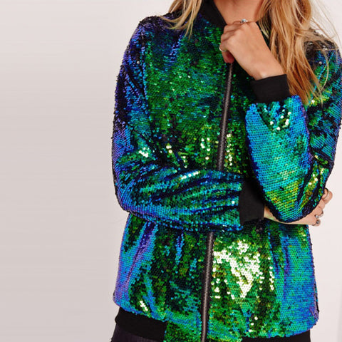 Buy Women's Casual Sequin Coat Green Bomber Jacket, Shop here Woman's Casual Sequin Coat Green Bomber Jacket, Green Bomber Jacket, Casual Sequin Bomber Jacket,Sequin Green Bomber, Green Jackets, Party Jacket