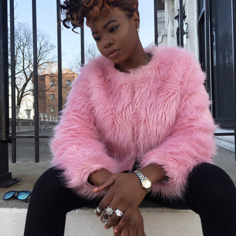 Pink Faux Fur Winter Coat
