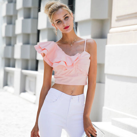One Shoulder Pink Top