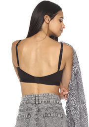BRAG Triangle Hook Back Unpadded Bralette-Black