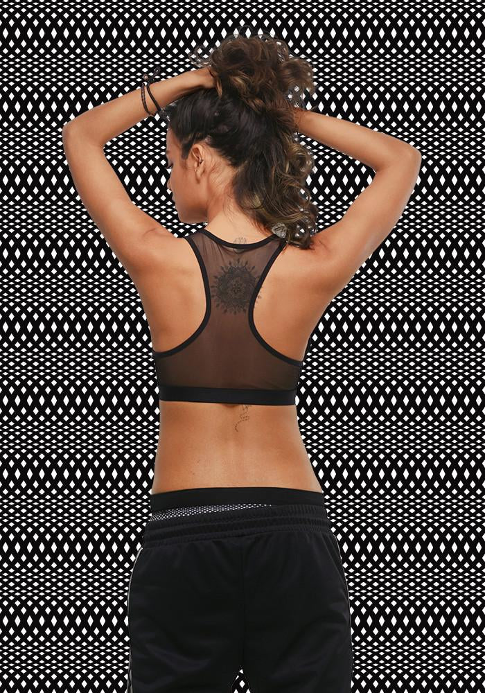 Plunge mesh racer back t shirt bralette black white for Mesh shirt with bralette