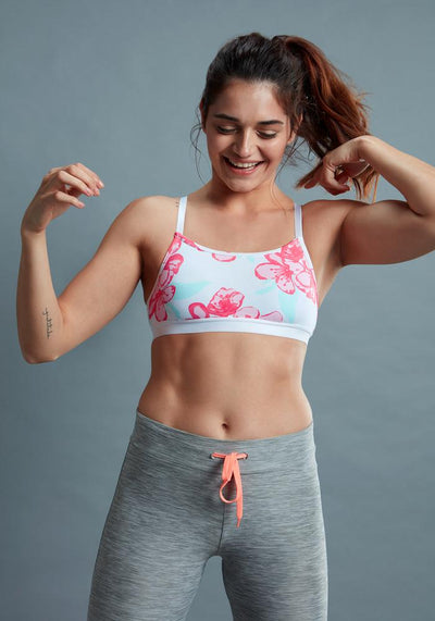 BRAG Classic Crossback Sports Bra - Pink Floral