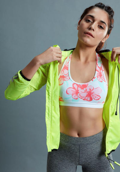 BRAG Classic Racerback Sports Bra - Pink Floral