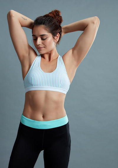 BRAG Classic Racerback Sports Bra - Neon Purple Stripe
