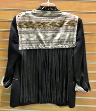 Amazing Hand Studded Black Blazer with Southwest Print and Leather Fringe