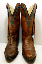 Vintage Tan Texas Brand Cowgirl Boots with Beaded Embellishments size 7 M women's