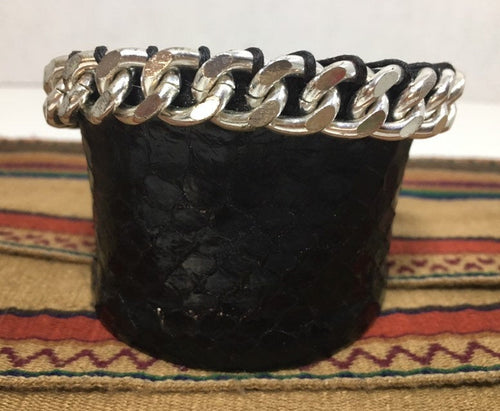 Black Snakeskin Cuff Bracelet with Metal Chain