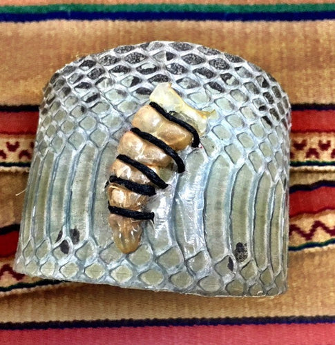 Authentic Snakeskin Cuff Bracelet with rattler!