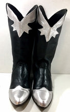 Hand Painted Black and Silver Leather Cowgirl Boots from 9west size 7 1/2