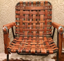 Vintage Western Tooled Belt Folding Lawn Chair