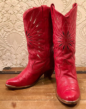 Red Acme Star Inlay Cowgirl Boots size 6 1/2 M