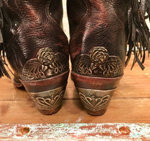 Beautiful Brown Distressed Fringe Cowgirl Boots from Zodiac size 7