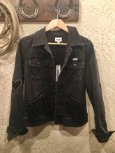 Black Wrangler Icons Jean Jacket with Embroidery and Leather Fringe size M