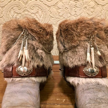 GOT Beautiful Fur and Belt Cowgirl Booties Zodiac size 7 1/2M