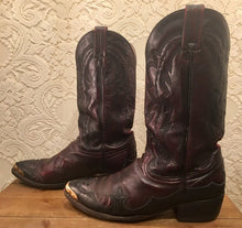 Black Cherry Dan Post Cowboy Boots with Wingtips men's size 10 1/2D