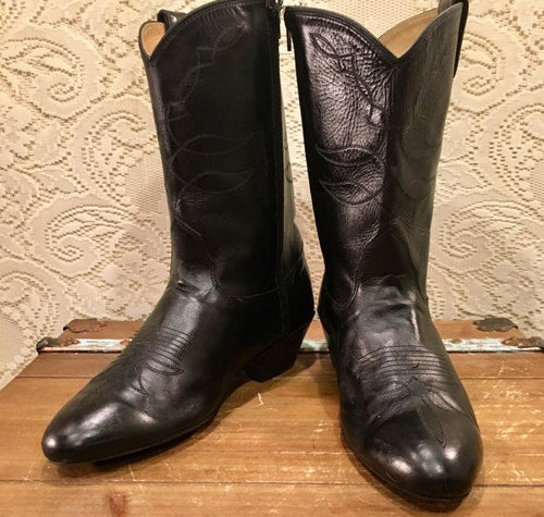 Black Leather Cowgirl Dancing Boots size 8 M