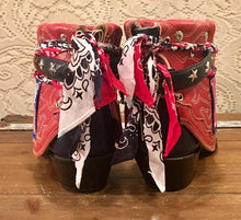 Hand crafted Navy any Red American Nocona Cowgirl Booties size 8 to 8 1/2