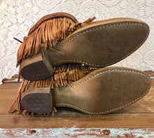 Tan Fringe Handcrafted Acme Dingo Cowgirl  Booties soze 6 1/2