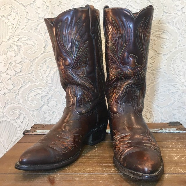 Brown Vintage Acme Cowboy Boots with Rainbow Phoenix Eagle Thunderbird men's size 9.5 D woman's size 11