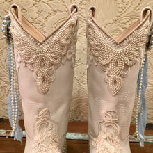 Custom White Cowgirl Bling Boots with Lace and Pearls size 6