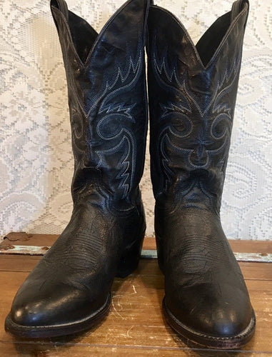 Black Leather Abilene Cowboy Boots with Fancy stiched vamps mens size 9 1/2EE woman's size 11 wide