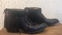 Black Label Black Leather Fringe Tony Lama Handcrafted Cowboy Booties mens size 9 D woman's size 10 1/2