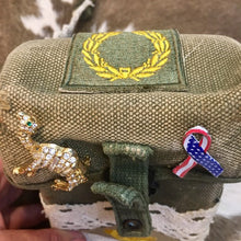 Hand crafted Vintage Army Canteen lace purse with vintage military patches and pins