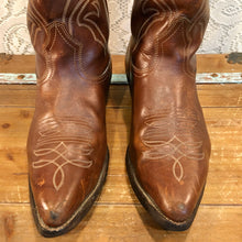 Brown Leather Cowboy Boots  with Fancy Vamps mens size 9 1/2EE woman's size 11 wide
