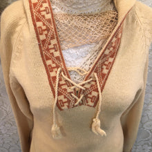Butter Yellow vintage Alpaca Hoodie Sweater with fringe Grupo Esmeralda size small