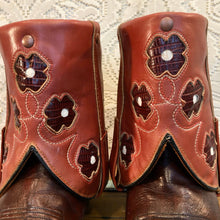 Hand Crafted Mahogany/Dusty Rose Acme/Miss Capezio Vintage Cowgirl Ankle Boots with Floral Inlays size 10 to 10.5 10 1/2