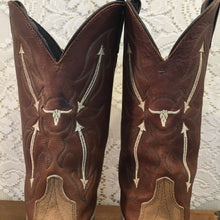 Brown and Tan Vintage Suede Laredo Cowgirl Boots with Longhorn Inlays size 8 M