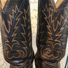 Handmade Beautiful Brown Leather Laramie Cowboy Boots mens size 8 woman's size 9-9 1/2
