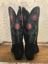 New Old Stock Vintage Black Tony Lama Cowgirl Boots with Red Rose Floral Inlays size 7 B