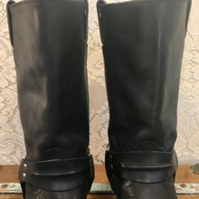 Vintage 90s Black Leather Harness Biker Boots from Code West size 9 M