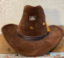 Vintage a Brown Felt Bailey Cowboy Hat with vintage pins and Feathers size 7 1/8
