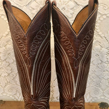 Tall 1970s vintage Black Label Tony Lama Chocolate Leather Cowgirl Boots size 5C