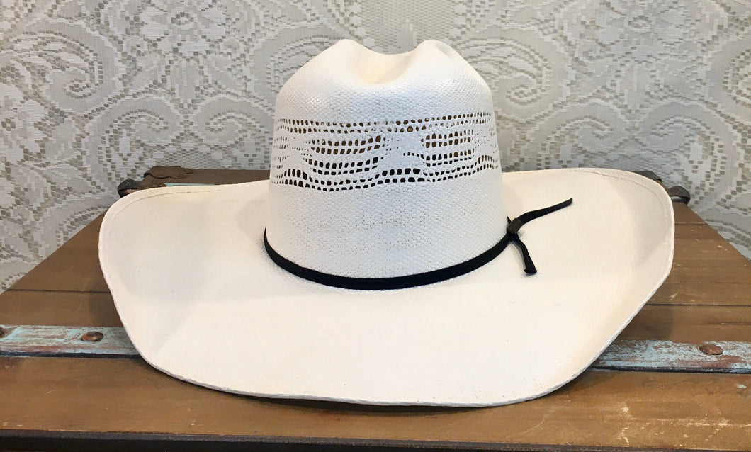 White Straw Lonestar Perferated Cowboy Hat With Black Band NOS