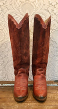 Tall Knee High Suede and Leather Whiskey Brown Zodiac Cowgirl Boots size 6 1/2 M