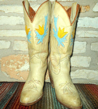 Vintage Miss Capezio Cowgirl Western Boots with Yellow and Turquoise Floral Inlays size 6 1/2 M