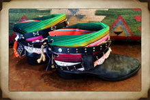 Vintage Mexican Serape Blanket Cowgirl Boots with Belts size 7