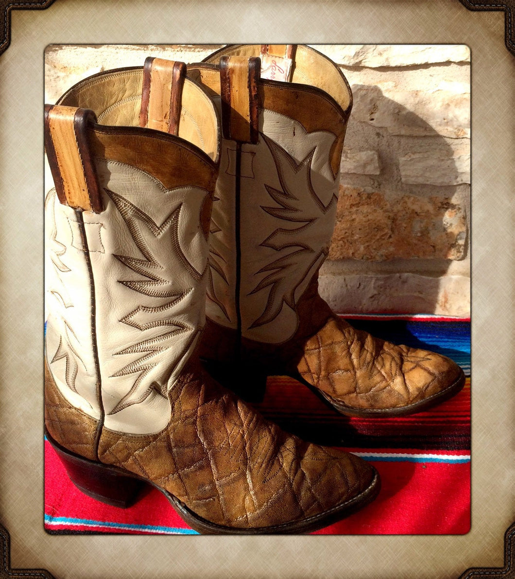 Tan and White Exotic Stitched Cowgirl Western Boots from Larry Mahan size 6