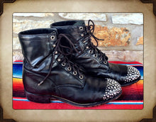 Bedazzled Black leather Lace Up Boots from Justin size 7