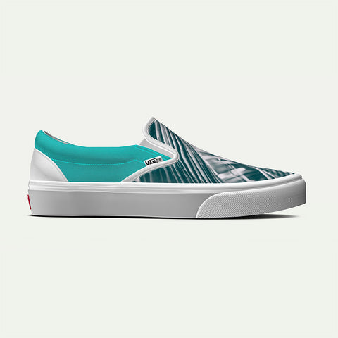 Vans Men's Custom Teal Botanical Classic Slip-On