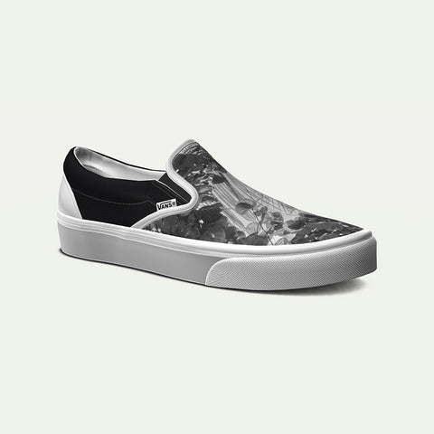 Vans Men's Custom Grey Botanical Classic Slip-On